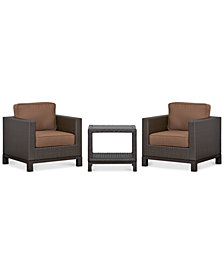 CLOSEOUT! Katalina Outdoor Wicker 3-Pc. Seating Set (2 Club Chairs and 1 End Table), Created for Macy's