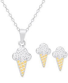 Children's Cubic Zirconia Ice Cream Cone Jewelry Set in 18k Gold over Sterling Silver
