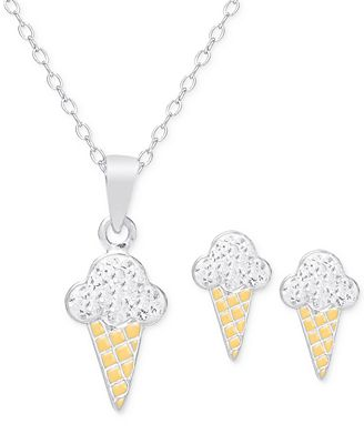 Children S Cubic Zirconia Ice Cream Cone Jewelry Set In 18k Gold Over Sterling Silver