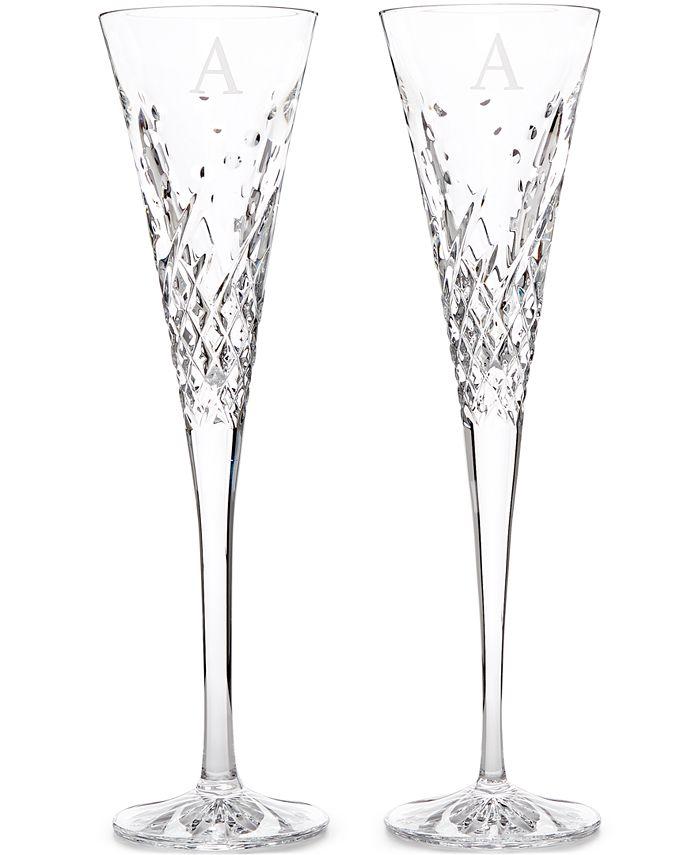 Waterford - Crystal 2-Pc. Wish Happy Block Monogram Toasting Flutes Pair
