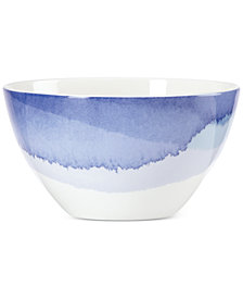 Lenox Indigo Watercolor Stripe  Porcelain All-Purpose Bowl, Created for Macy's