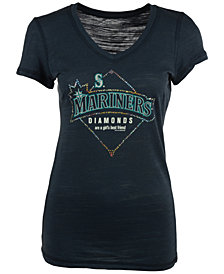 Soft As A Grape Women's Seattle Mariners Diamonds Best Friend T-Shirt