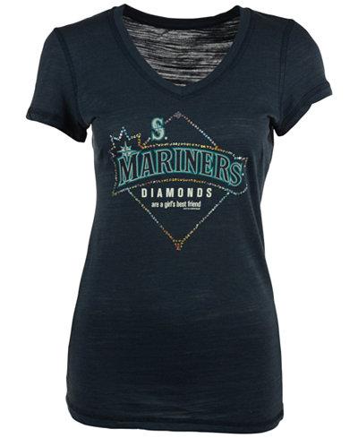 Soft As A Grape Women's Seattle Mariners Diamonds Best Friend T-Shirt
