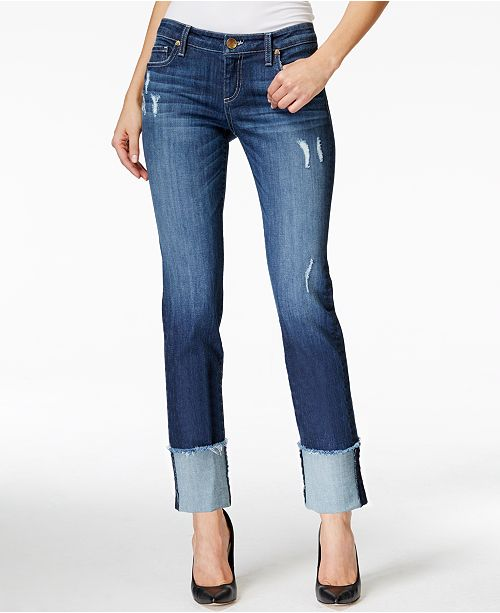 Kut from the Kloth Cameron Cuffed Straight-Leg Jeans