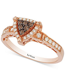 Neo Geo Le Vian Chocolatier® Chocolate and Vanilla Diamond Triangle Ring (1/3 ct. t.w.) in 14k Rose Gold