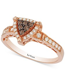 Neo Geo Le Vian Chocolatier® Chocolate and Vanilla Diamond Triangle Ring (1/3 ct. t.w.) in 14k Rose Gold