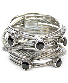 CHARRIOL Women's Silver-Tone Black Spinel Cable Ring