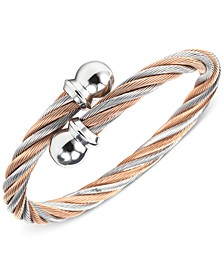Unisex Two-Tone Cable Bangle Bracelet