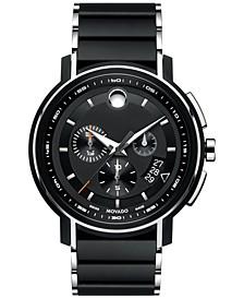 Men's Swiss Chronograph Strato Silver-Tone & Black PVD Stainless Steel Bracelet Watch 44mm 0607006