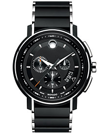 Movado Men's Swiss Chronograph Strato Silver-Tone & Black PVD Stainless Steel Bracelet Watch 44mm 0607006