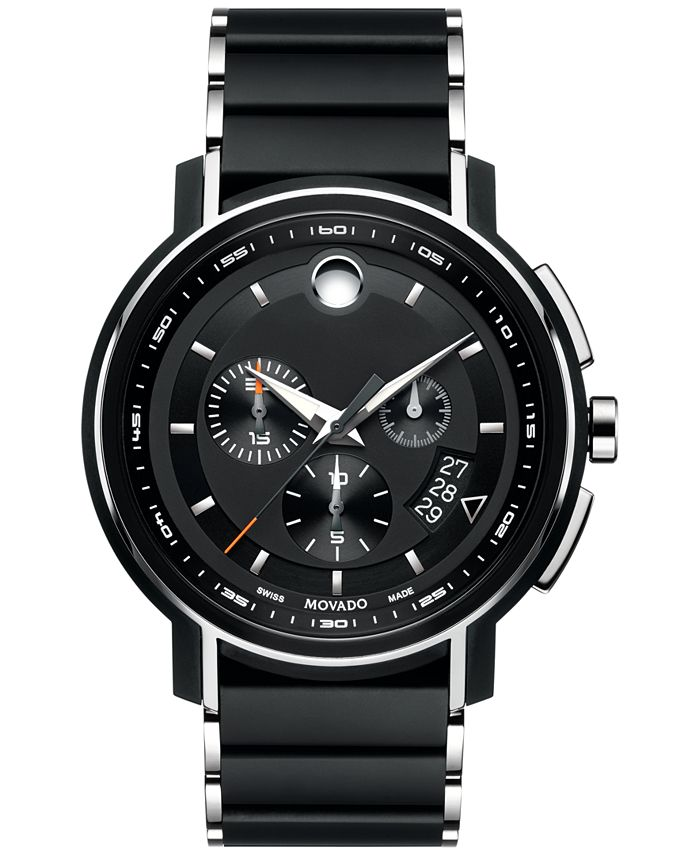 Movado - Men's Swiss Chronograph Strato Silver-Tone & Black PVD Stainless Steel Bracelet Watch 44mm 0607006