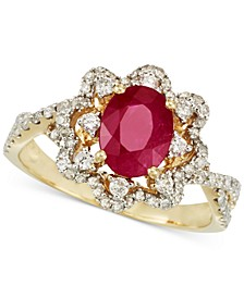 Certified Ruby (1 ct. t.w.) and Diamond (1/2 ct.  t.w.) Ring in 14k Gold