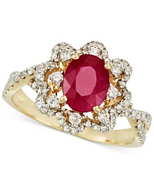 RARE Featuring GEMFIELDS Certified Ruby (1 ct. t.w.) and Diamond (1/2 ct.  t.w.) Ring in 14k Gold