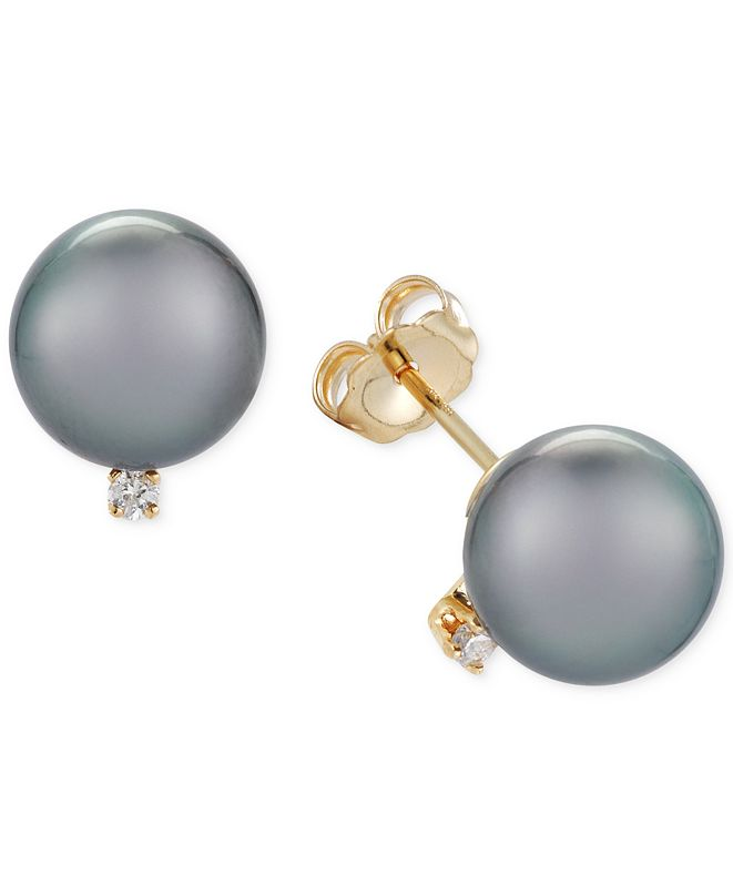 Macy's Cultured Tahitian Pearl (9mm) and Diamond Accent Stud Earrings in 14k Gold