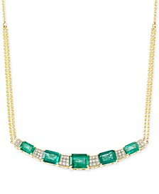 Emerald (3-3/4 ct. t.w.) and Diamond (3/10 ct. t.w.) Necklace in 14k Gold