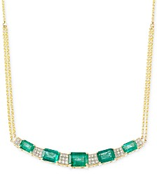 RARE Featuring GEMFIELDS Certified Emerald (3-3/4 ct. t.w.) and Diamond (3/10 ct. t.w.) Necklace in 14k Gold