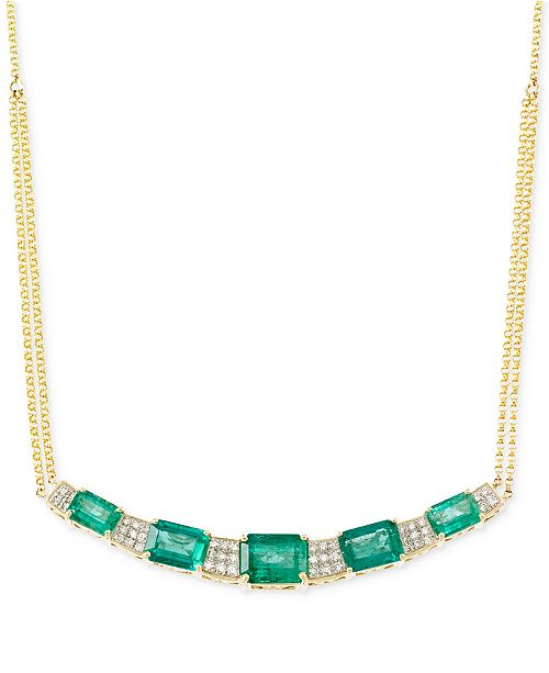 RARE Featuring GEMFIELDS Emerald (3-3/4 ct. t.w.) and Diamond (3/10 ct. t.w.) Necklace in 14k Gold