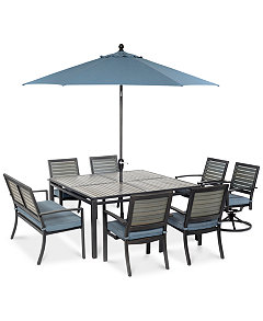 Harlough Outdoor Aluminum 8 Pc Dining Set 62 Square Table 4 Chairs 2 Swivel Rockers And 1 Bench