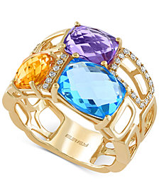 Mosaic by EFFY Multi-Stone (6-7/8 ct. t.w) and Diamond (1/10 ct. t.w.) Mosaic Ring in 14k Gold