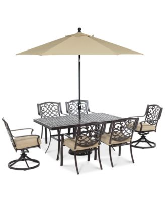 """Park Gate Outdoor Cast Aluminum 7-Pc. Dining Set (68"""" x 38"""" Dining Table, 4 Dining Chairs and 2 Swivel Rockers), Created for Macy's"""