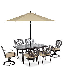 "CLOSEOUT! Park Gate Outdoor Cast Aluminum 7-Pc. Dining Set (68"" x 38"" Dining Table, 4 Dining Chairs and 2 Swivel Rockers), Created for Macy's"