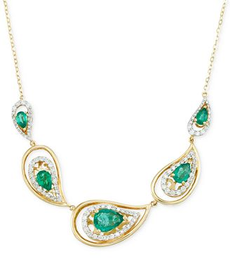 RARE Featuring GEMFIELDS Certified Emerald (1-7/10 ct. t.w.) and Diamond (5/8 ct. t.w.) Necklace in ...