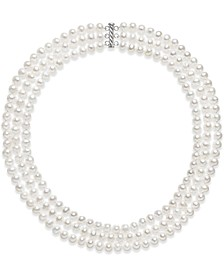 Cultured Freshwater Pearl Three Layer Necklace (7-8mm)
