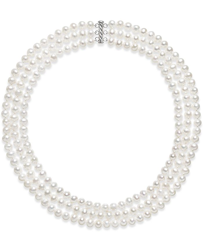 Belle de Mer - Cultured Freshwater Pearl Three Layer Necklace (7-8mm)