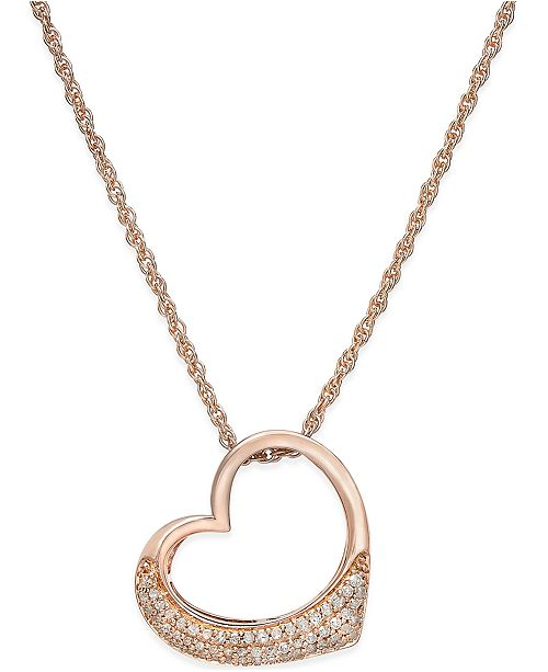 Macy's Diamond Heart Pendant Necklace (1/5 ct. t.w.) in Rose Gold-Plated Sterling Silver