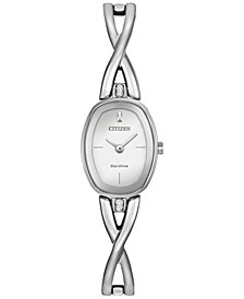 Citizen Women's Eco-Drive Stainless Steel Bangle Bracelet Watch 24x18mm EX1410-53A