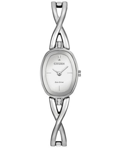 Citizen Women's Eco-Drive Stainless Steel Bangle Bracelet Watch 24x18mm EX1410-53A