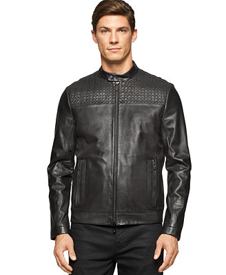 Calvin Klein Premium Laser Cut Leather Jacket