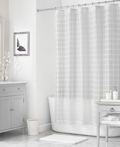 Martha Stewart Collection 72 x 72 Woven Check Shower Curtain, Created for Macy's