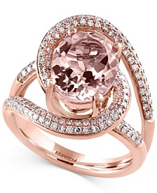 Blush By EFFY® Morganite (3-1/4 ct. t.w.) and Diamond (1/2 ct. t.w.) Ring in 14k Rose Gold