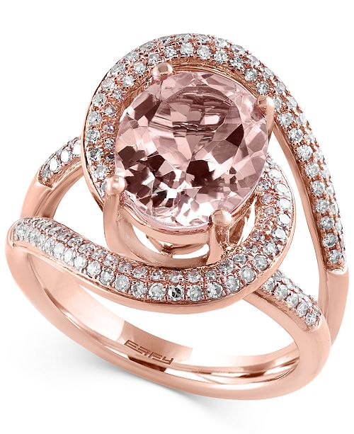 EFFY Collection Blush By EFFY Morganite (3-1/4 ct. t.w.) and Diamond (1/2 ct. t.w.) Ring in 14k Rose Gold