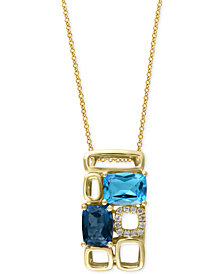 Mosaic By EFFY Blue Topaz (3-1/4 ct. t.w.) and Diamond Accent Pendant Necklace in 14k Gold