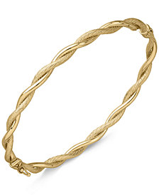 Italian Gold Twist-Style Hinged Bangle Bracelet in 14k Gold