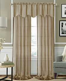 "CLOSEOUT! Enza Semi-Sheer Jacquard Stripe Pair of 52"" x 84"" Panels"