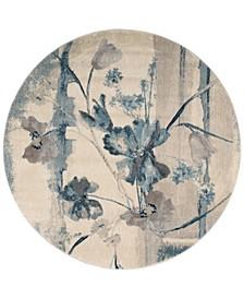 "CLOSEOUT! Somerset Ivory/Blue Art Flower 5'6"" Round Rug"