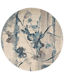 "CLOSEOUT! Nourison Somerset Ivory/Blue Art Flower 5'6"" Round Rug"