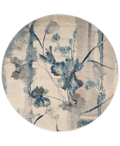 CLOSEOUT! Nourison Somerset Ivory/Blue Art Flower 5'6