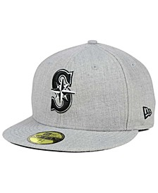 Seattle Mariners Heather Black White 59FIFTY Fitted Cap
