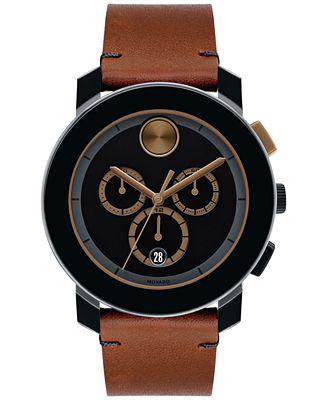 Movado Men's Swiss Chronograph Bold Cognac Leather Strap Watch 44mm 3600348