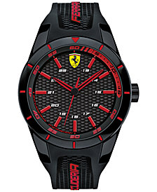 Ferrari Mens Redrev Black Silicone Strap Watch 44mm 0830245