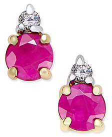 Ruby (5/8 ct. t.w.) and Diamond Accent Stud Earrings in 14k Gold with 14k White Gold Accents