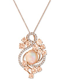 Crazy Collection® Neapolitan Opal (2-9/10 ct. t.w.), Peach Morganite (3-2/5 ct. t.w.) and White Topaz (7/10 ct. t.w.) Pendant Necklace in 14k Rose Gold, Created for Macy's
