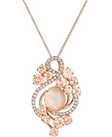 Le Vian Crazy Collection® Neapolitan Opal (2-9/10 ct. t.w.), Peach Morganite (3-2/5 ct. t.w.) and White Topaz (7/10 ct. t.w.) Pendant Necklace in 14k Rose Gold, Created for Macy's