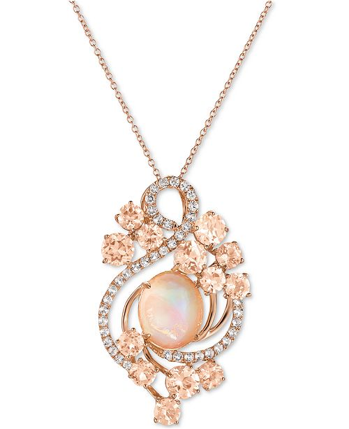 morganite pendant flower necklace listing il diamonds vintage