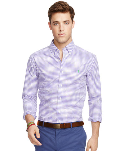 Polo ralph lauren men 39 s men 39 s long sleeve slim fit gingham for Polo ralph lauren casual button down shirts