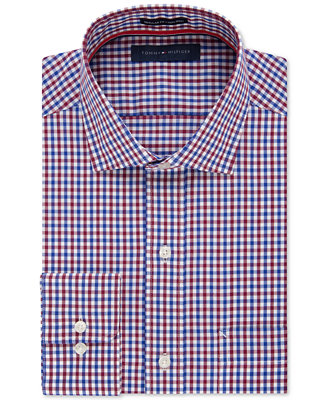 Tommy hilfiger men 39 s classic fit non iron red and blue for Tommy hilfiger gingham dress shirt